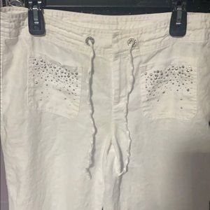 I.N.C white linen pants with metal adornments